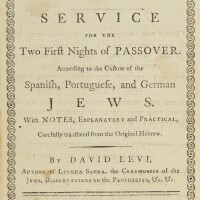 148. haggadah shel pesah = service for the two first nights of passover, translated by david levi, london: d. levi, 1794