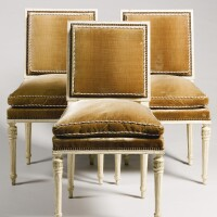48. three cream painted chairs louis xvi, circa 1780