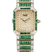 2037. piaget   rare yellow gold, emerald and diamond-set bracelet watchref81413case 415070 circa 1987