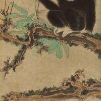 1247. 張大千 老樹清猿   設色紙本 立軸 一九五○年作