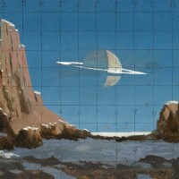 """2. bonestell, chesley. study for """"saturn seen from titan"""" circa 1959(?)"""