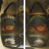 36. pair of fine and rare ceremonial painted leather fire buckets, salem or boston, massachusetts, circa1840