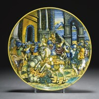 1. a faenza maiolica dish,workshop of virgiliotto calamelli, about 1550-60