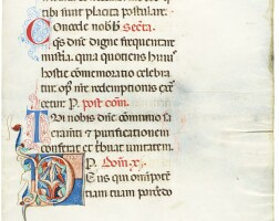 28. illuminated initial on a leaf from a missal, in latin [northern italy, c.1275-1300]