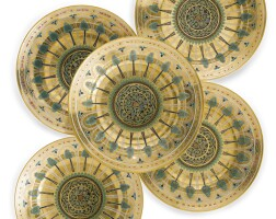 54. a set of five russian soup plates from the kremlin service, imperial porcelain manufactory, st. petersburg, period of nicholas i (1825-1855)