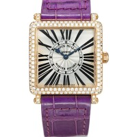 2036. franck muller   pink gold and diamond-set wristwatchref 6002 l qz d no 100 master square circa 2009