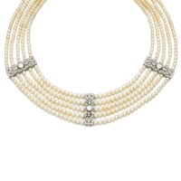 4. natural pearl and diamond collier de chien, early 20th century