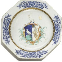 304. a chinese export armorial octagonal plate, qing dynasty, qianlong period, circa 1740 |