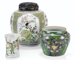 208. potiche en porcelaine de la famille verte dynastie qing, époque kangxi