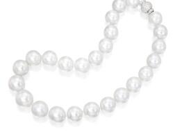13. 18 karat white gold, cultured pearl and diamond necklace