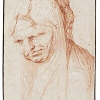 104. jusepe de ribera, called lo spagnoletto | head of a woman wearing a veil with two small naked figures on it