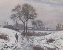 155. camille pissarro | chasseur en hiver, paysage à norwood