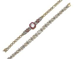 5. ruby and diamond bracelet and a diamond bracelet, circa 1910