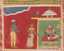 781. a double-sided album folio from the rasika priya of keshav das: krishna approaches radha's chamber, he speaks to her sakhi (confidante) outside, a nayika and her sakhi conversing