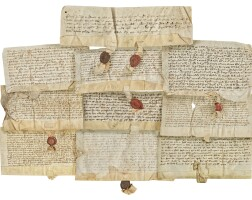 2. ten documents concerning grants of land, with seven seals, in latin; england (midlands) dated from 1326 to 1431