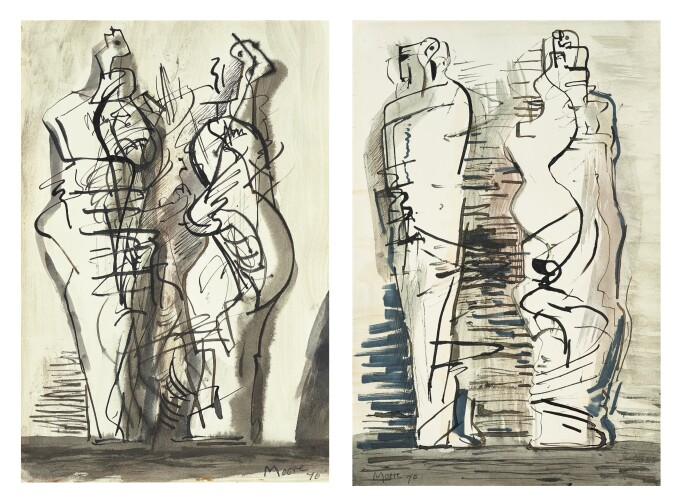 Henry Moore Two Standing Figures ink drawings