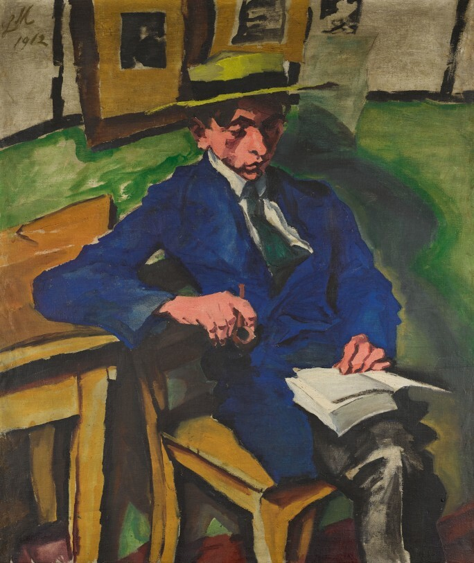 A painting of a young man wearing a hat and a blue blazer seated on a wooden chair reading a book.