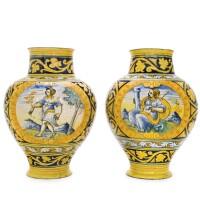 2. a pair of faenza maiolicavases, circa 1550