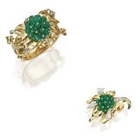 139. 14 karat gold, platinum, emerald and diamond 'reflection' bangle-bracelet and brooch, trabert & hoeffer-mauboussin, circa 1940