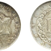 5. three-cent piece, silver, 1853, ngc ms 65 cac