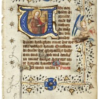 31. st apollonia, historiated initial on a leaf from a book of hours, in dutch [northern netherlands (utrecht), c.1430-50]