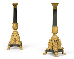 167. a pair ofpatinated and gilt-bronze lamps in the french restauration style |
