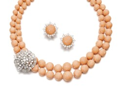 8. pair of coral and diamond ear clips, petochi, and a coral and diamond necklace