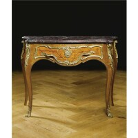 211. a fine gilt-bronze mounted mahogany and rosewood marquetry console en commode napoleon iii, third quarter 19th century