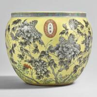 901. a yellow-ground grisaille-enameledfish bowl qing dynasty, dayazhai mark, guangxu period