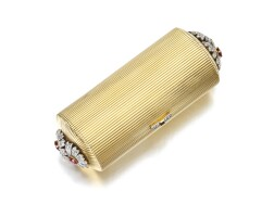 350. gold, ruby and diamond vanity case, cartier