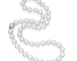 35. cultured pearl and diamond necklace