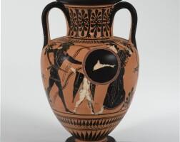 32. an attic black-figured neck amphora, circa 520-500 b.c.