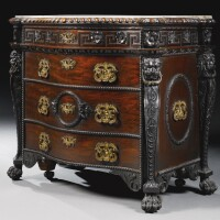 7. a george iigilt-brass mounted and marble topped carvedmahogany serpentine commode the design attributed to william kent and probably by john boson or benjamin goodison circa 1740