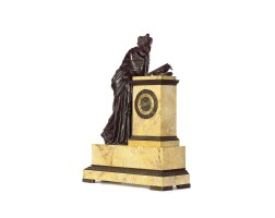 27. a large french charles x bronze and siena marble sculptural mantel clock, circa 1830