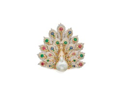 36. baroque cultured pearl, emerald, ruby, sapphire and diamond brooch