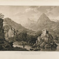 1. albanis beaumont travels through the rhaetian alps, 1792. grand in-folio. maroquin rouge de l'époque.