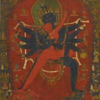 404. a thangka depicting chakrasamvara and vajravarahi nepal, 15th century