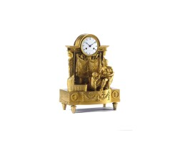 2. a good french empire ormolu sculptural mantel clock, cleret elève de robin, circa 1829