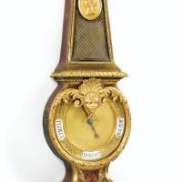 338. baromètre en marqueterie d'écaille rouge, corne bleue et laiton, bois noirci et bronze doré de style louis xiv, xixe siècle, incorporant des éléments du xviiie siècle