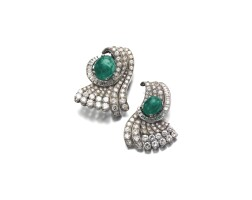 17. pair of emerald and diamond clip brooches, 1950s