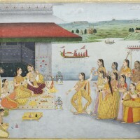 18. dancers and musicians performing for a princesson a terrace before a river, signed by muhammad afzal, oudh,circa 1770