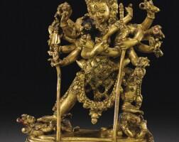 102. 約十六世紀 尼泊爾 鎏金銅合金勝樂金剛立像