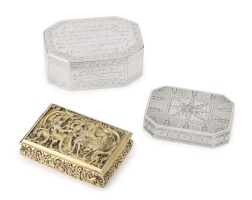 9. three georgian silver snuff boxes