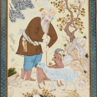 114. an old shepherd leaning on his staff in a landscape, signed by mu'in musavvir, persia, isfahan, safavid, dated 19 rabi' al-awwal 1087 ah/1676 ad