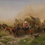 Emanuel Gottlieb Leutze, Western Emigrant Train Bound for California Across the Plains, Alarmed by Approach of Hostile Indians (Indians Attacking a Wagon Train), 1863. Estimate $2,500,000–3,500,000.