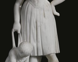 214. a carved carrara marble figure of a mother and child italy, late 19th century
