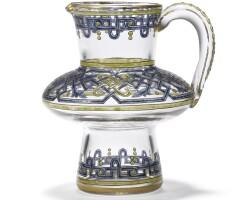 572. a glass and enamel kvass jug, imperial glassworks, st petersburg, period of alexander iii (1881-1894)