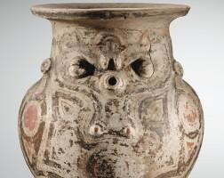 313. urne globulaire à décor anthropo-zoomorphe tradition polychrome, ile de marajo, brésil phase marajoara, 400-1350 ap. j.-c.