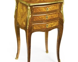 48. a louis xv ormolu-mounted amaranth, bois satiné and marquetry table en chiffonnière mid-18th century