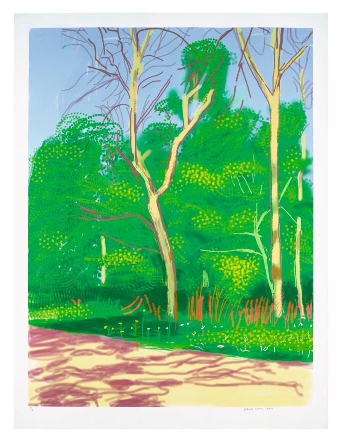 David Hockney iPad drawing The Arrival Of Spring In Woodgate, East Yorkshire